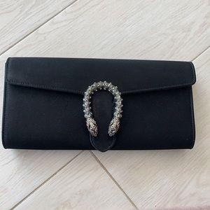 Gucci Dionysus black satin clutch